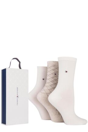 Ladies 3 Pair Tommy Hilfiger Gift Boxed Diamond Patterned and Plain Socks