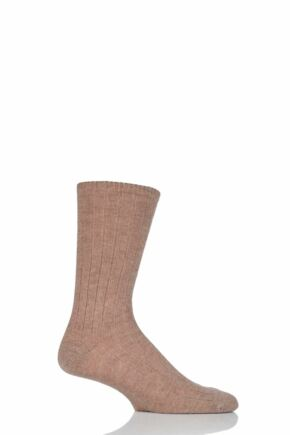 Mens 1 Pair SockShop of London 100% Cashmere Bed Socks Mushroom 8-10