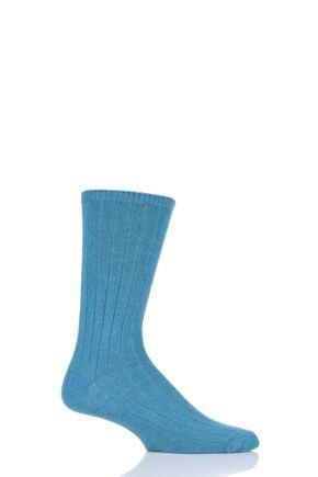 Mens 1 Pair SockShop of London 100% Cashmere Bed Socks Aquaria 11-13