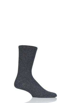 Mens 1 Pair SockShop of London 100% Cashmere Bed Socks Badger 11-13