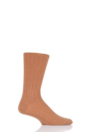 Mens 1 Pair SockShop of London 100% Cashmere Bed Socks Caramel 8-10
