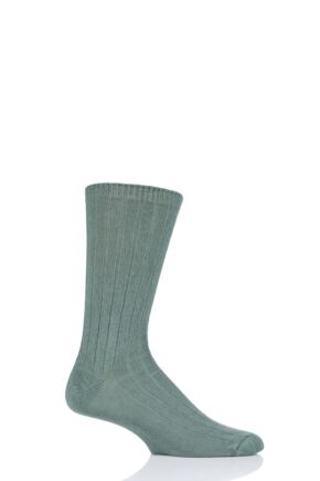 Mens 1 Pair SOCKSHOP of London 100% Cashmere Bed Socks Dill 8-10