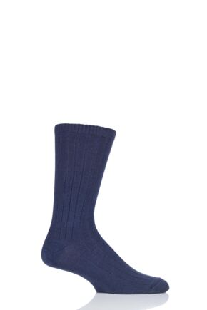 Mens 1 Pair SOCKSHOP of London 100% Cashmere Bed Socks Indigo 8-10