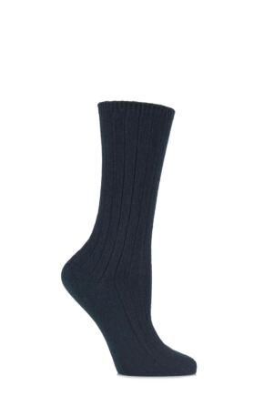 Ladies 1 Pair SockShop of London 100% Cashmere Bed Socks Kingfisher 4-7