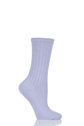 Ladies 1 Pair SockShop of London 100% Cashmere Bed Socks with Smooth Toe Seams Lavender 4-7
