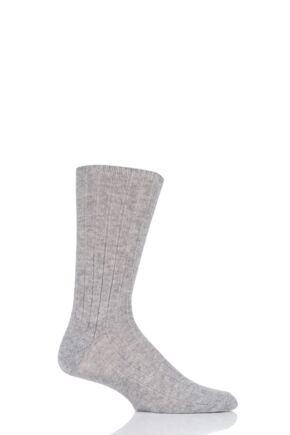 Mens 1 Pair SOCKSHOP of London 100% Cashmere Bed Socks Light Grey 11-13