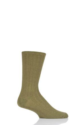 Mens 1 Pair SOCKSHOP of London 100% Cashmere Bed Socks Olive 8-10