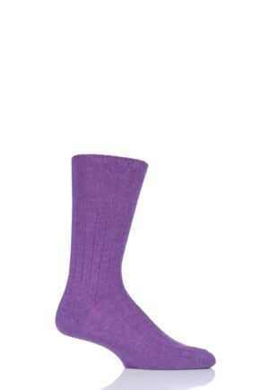 Mens 1 Pair SOCKSHOP of London 100% Cashmere Bed Socks Purple Melange 8-10