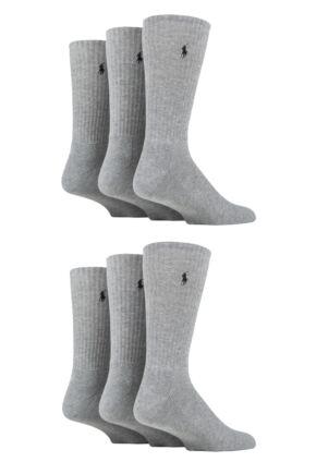 Mens 6 Pair Ralph Lauren Cotton Crew Sports Socks Grey 6-11 Mens