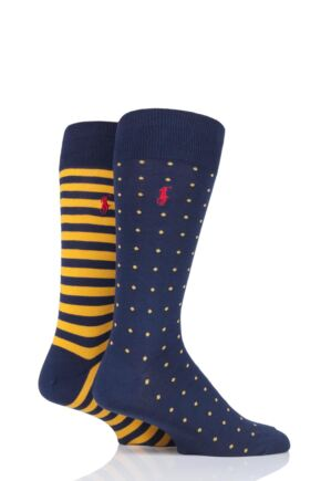 Mens 2 Pair Ralph Lauren Dot and Stripe Cotton Socks