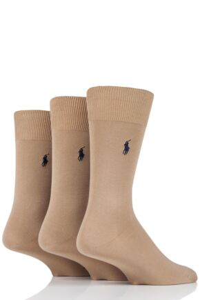 Mens 3 Pair Ralph Lauren Mercerized Cotton Flat Knit Plain Socks