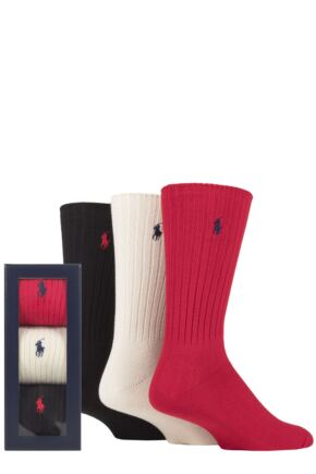 Mens 3 Pair Ralph Lauren Classic Cotton Crew Gift Boxed Socks