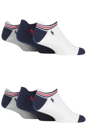 Mens 6 Pair Ralph Lauren Classic Sport Cushioned Arch Support Trainer Socks