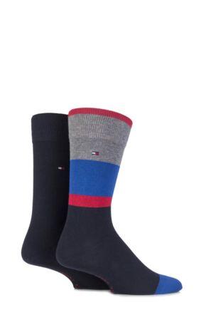 Mens 2 Pair Tommy Hilfiger Cotton Coat Art Block Striped Socks 25% OFF
