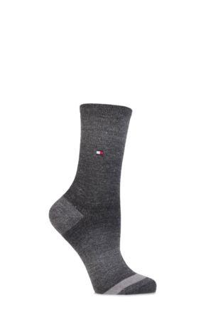 Ladies 1 Pair Tommy Hilfiger Wool Faded Yarn Striped Socks Black 6-8