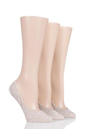 Ladies 3 Pair Ralph Lauren Non-Slip Heel Low Liner Socks Natural One Size