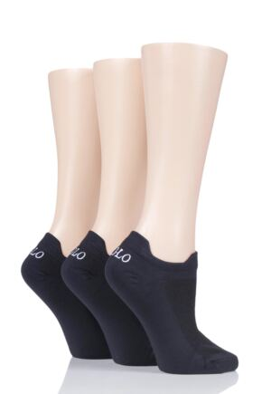 Ladies 3 Pair Ralph Lauren Double Tab Trainer Socks