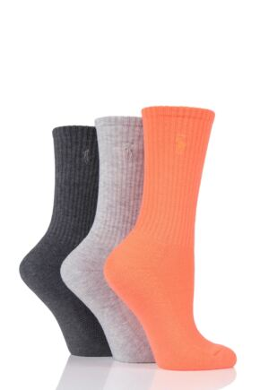 Ladies 3 Pair Ralph Lauren Ribbed Sports Crew Socks