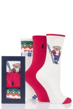 Ladies 3 Pair Ralph Lauren Bear Gift Boxed Cotton Socks