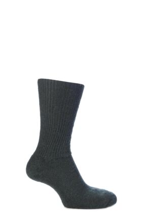 Mens and Ladies 1 Pair SOCKSHOP of London Mohair Ribbed Socks With Cushioning Green 4-7