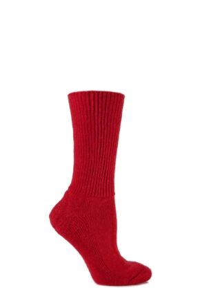 Mens and Ladies 1 Pair SockShop of London Mohair Ribbed Socks With Cushioning Red 4-7