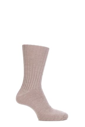 Mens and Ladies 1 Pair SOCKSHOP of London Mohair Ribbed Socks With Cushioning Toffee 4-7