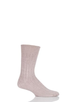 Mens and Ladies 1 Pair SockShop of London Alpaca Bed Socks In Toffee