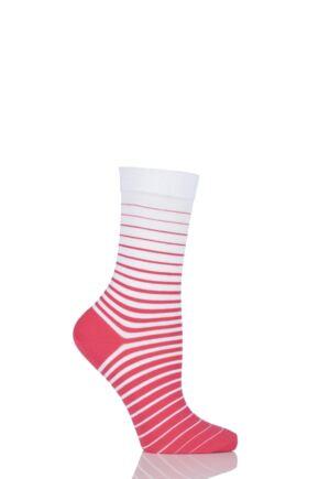 Ladies 1 Pair Falke Cotton Degradee Striped Socks Coral 39-42