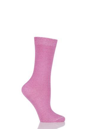 Ladies 1 Pair Falke Velveteen Cotton Socks Pink 35-38