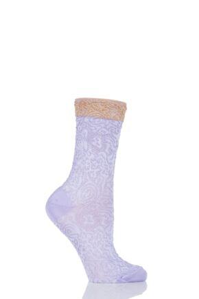 Ladies 1 Pair Falke Shiny Ornament Lacy Brocade Socks 25% OFF Lilac 39-42