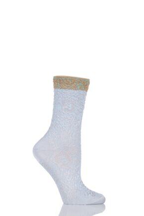Ladies 1 Pair Falke Shiny Ornament Lacy Brocade Socks