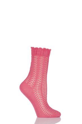 Ladies 1 Pair Falke Romantic Lace Cotton Socks Coral 35-38