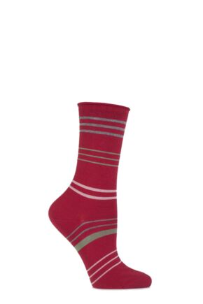 Ladies 1 Pair Falke Cotton Mixed Striped Socks