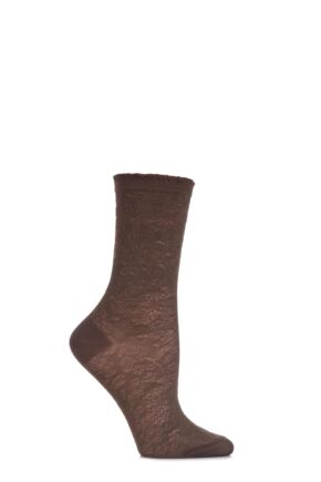 Ladies 1 Pair Falke Floral Raised Embellished Socks