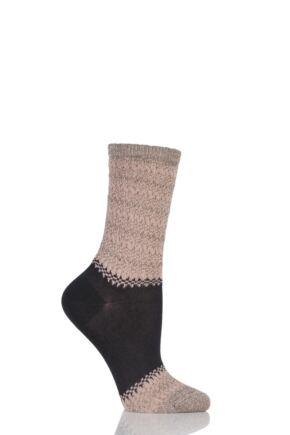 Ladies 1 Pair Falke Natural Marl Block Striped Socks Black 39-40