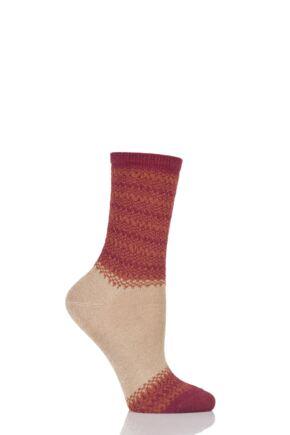 Ladies 1 Pair Falke Natural Marl Block Striped Socks Camel 41-42