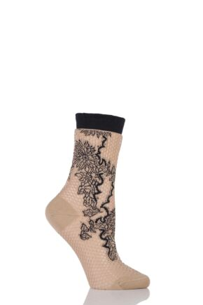 Ladies 1 Pair Falke Floral Patterned Lace Anklet Socks