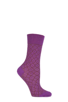 Ladies 1 Pair Falke Virgin Wool Ornamental Tile Textured Socks Wildberry 35-38