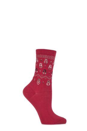 Ladies 1 Pair Falke Cotton Matryoshka Russian Doll Socks Rio Red 39-42