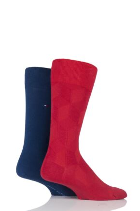 Mens 2 Pair Tommy Hilfiger Shadow Cubes Cotton Socks