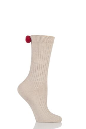 Ladies 1 Pair Falke Wiesn Ribbed Cotton Socks with Baubles