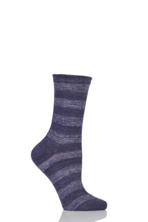 Ladies 1 Pair Falke Macrostripe Anklet Socks Purple 2.5-5 Ladies