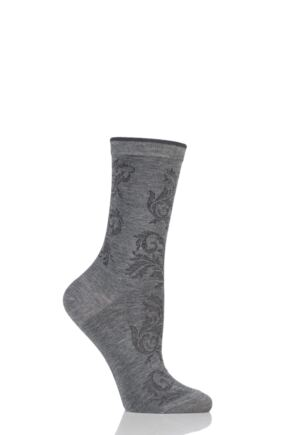Ladies 1 Pair Falke Cameo Décor Lyocell Socks Grey 35-38