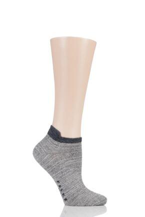 Ladies 1 Pair Falke Denim Addicted Cotton Trainer Socks Grey 2.5-5 Ladies