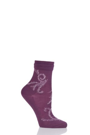Ladies 1 Pair Falke Coral Reef Floral Socks Burgundy 5.5-6.5 Ladies
