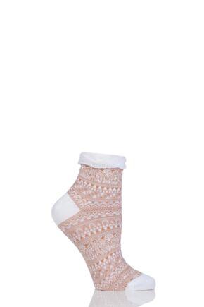 Ladies 1 Pair Falke Decoupage Lace Stripe Roll Top Cotton Socks