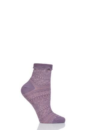 Ladies 1 Pair Falke Decoupage Lace Stripe Roll Top Cotton Socks Magnolia Purple 5.5-8