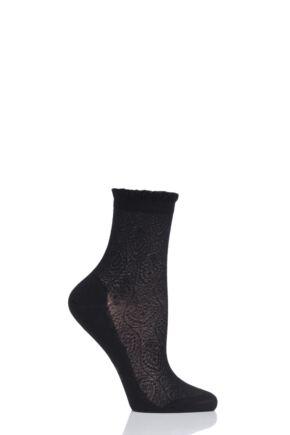 Ladies 1 Pair Falke Cupid Lace Cotton Socks