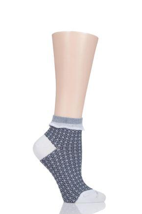 Ladies 1 Pair Falke Tweedy Denim Check Cotton Socks