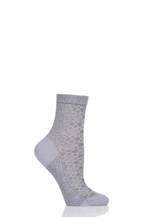 Ladies 1 Pair Falke Granite Cotton Socks Silver 39-42